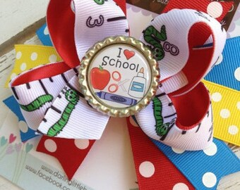 Back to School Bow - Bookworm in Training - Bookworm bow with primary colors I Love School -- cute bow to start kindergarten or preschool