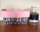 Pink and Damask Bicycle Basket Liner with Pocket