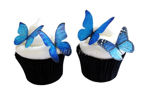 WEDDING CAKE toppers - Blue Edible Butterflies - Edible Cupcake Decorations, Birthday Cake, Destination Wedding