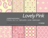 "Digital Paper + Lovely Pink  + Scrapbook Quality Paper Pack  (8.5x11""- 300 dpi)   8 sheet pack paper  040 + Instant Download +"