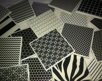 Set of 4 Black and White Ceramic Tile Coasters (buyers choice)