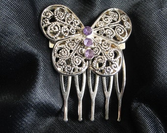 Vintage hair comb butterfly