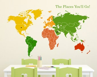 World Map of Continents & Map Markers Wall Decal