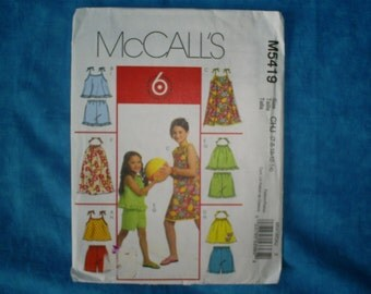 McCalls 5419 Girls Size 7-14 Summer.