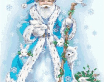 Santa with Animals 2 Cross Stitch Pattern