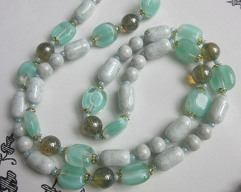 Moss Green Hippie Boho  Vintage West German Glass Necklace