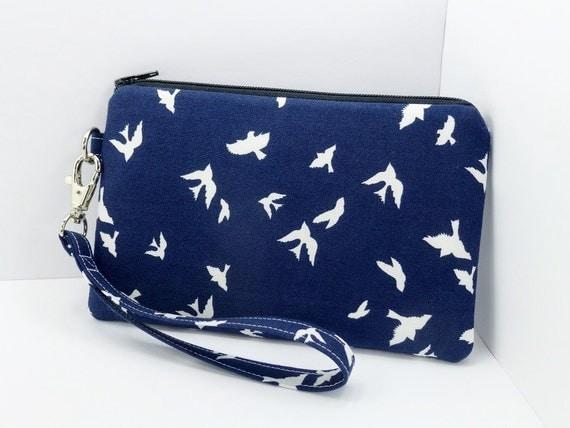 Birds Cell Phone Wristlet Purse Padded Zipper Pouch Dark Blue