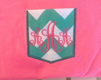 Monogrammed aqua chevron pocket appliquéd t-shirt