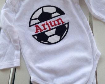 Split soccer onesie personalized split soccer ball onesie