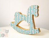 Rocking Horse: Decorative Fabric lined piece {yellow and mint tones}