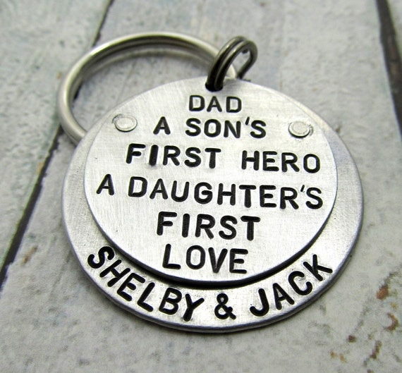 Personalized Dad Keychain - Personalized Keychain - Hand Stamped Key Chain - father daughter gift - Gift for Dad - First Hero First Love