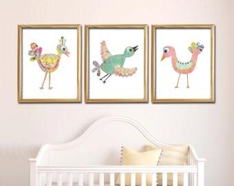 Bird Theme Girl's Room Print, Set of 3, Children's Wall Art, Nursery Wall Art, Mixed Media, Hand drawn Birds, LilyCole, Vintage Paper, Fly