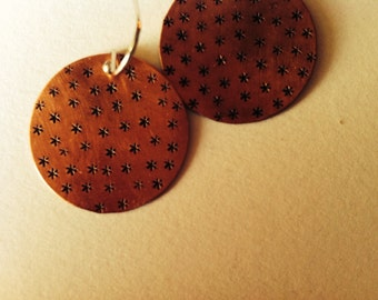 Copper Stamped Circle Earrings