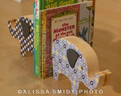 Custom Designed Wooden Elephant Bookends - Custom Created to Coordinate with Nursery Letters