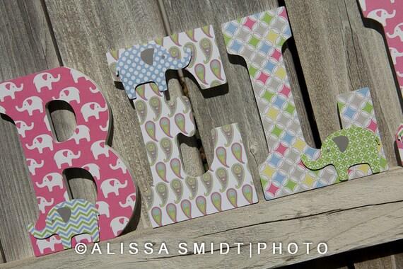 Elephant Nursery Letters Custom Wooden Letters Custom
