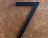 Modern House Number Aluminum Modern Font Number SEVEN 7 in Black