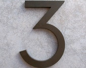 Modern House Number Aluminum Modern Font Number THREE 3 in Bronze