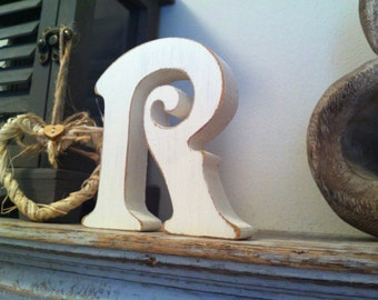 Hand-painted Wooden Letter R - Freestanding - Victorian Font - Various sizes, finishes and colours