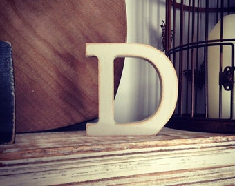 Hand-painted Wooden Letter D - Freestanding - Rockwell Font - Various sizes, finishes and colours