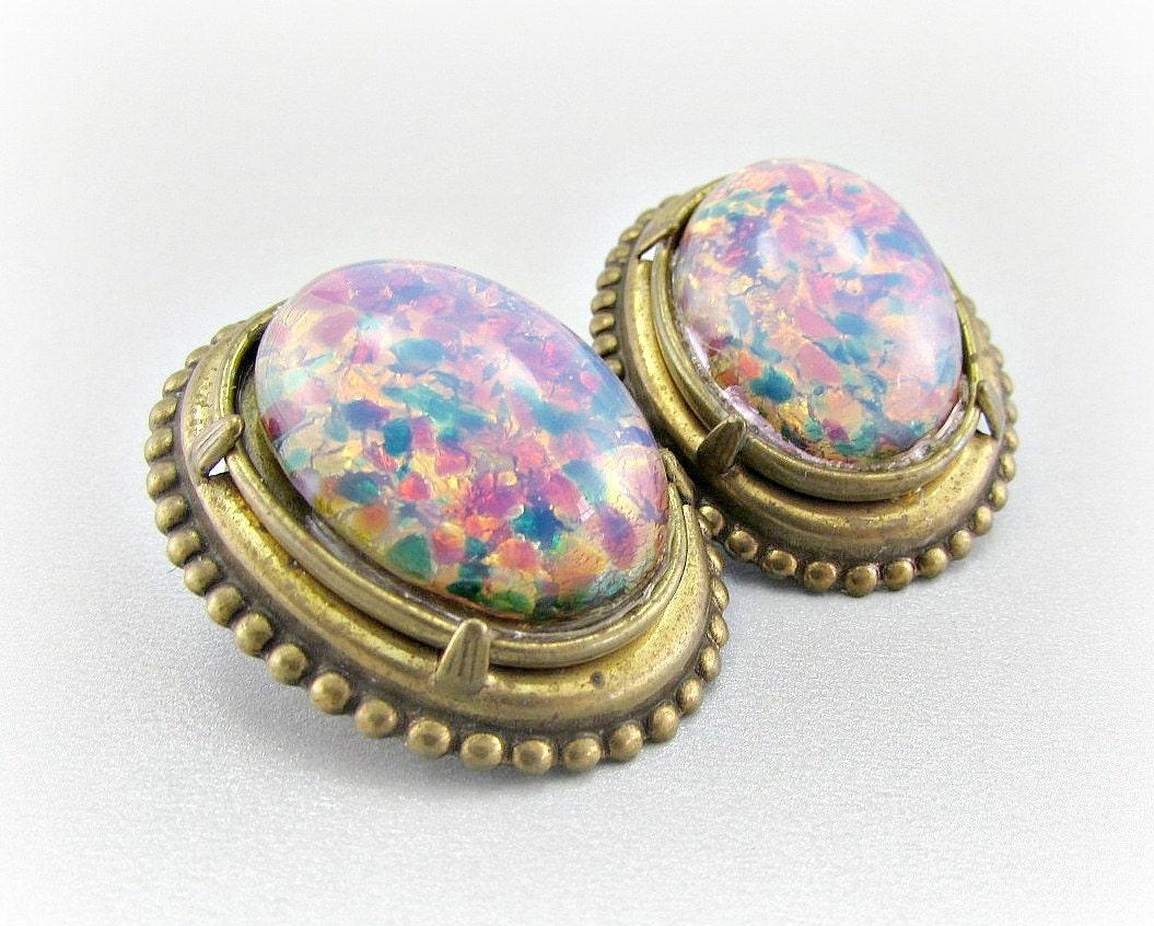 vintage pink opal earrings opal earrings harlequin