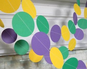 Mardi Gras Decorations -10ft paper Garland- Mardi Gras Party Decor -Photo Prop
