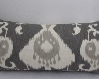 """Java Ikat Pewter Pillow Cover - Charcoal Ikat Long Lumbar Pillow 12""""x26"""" -12""""x24""""- Invisible Zipper"""