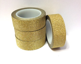 Washi Tape Bright Gold Glitter Washi Tape 5.5 yards 5 meters 15mm Bright Gold Shiny Gold Metallic Gold