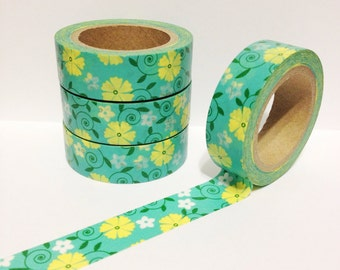 Teal Green and Yellow Floral Washi Tape 11 yards 10 meters 15mm Teal Green Washi Tape with Yellow Flowers and Green Foliage