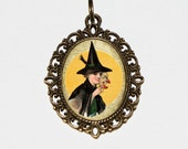 Witch Mask Necklace, Halloween Jewelry, Oval Pendant
