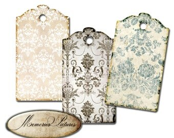 Gift Tags instant download printable gift tags, labels  // damask, wallpapers //  light grey //  digital Collage Sheet 177
