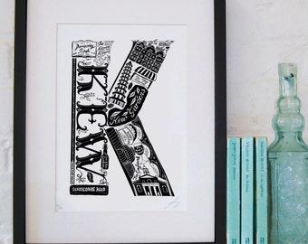 Best of Kew - London print - London poster - London Art - Typographic Print - London illustration - letter art - South London poster
