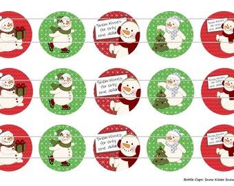 """15 Snowman Kisses 1 Digital Download for 1"""" Bottle Caps (4x6)"""
