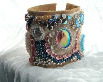 Rhinestones And Leather Bohemian Cuff