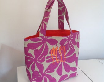 Deluxe Monogrammed Beach Tote,  Market Bag, Purse in Raspberry Pink and Orange