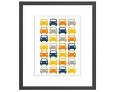 Modern Cars Art Print for Boys - perfect for nursery, kids room or playroom