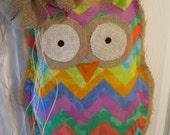 READY TO SHIP Owl Burlap Door Hanger Fabric Overlay Chevron Pattern