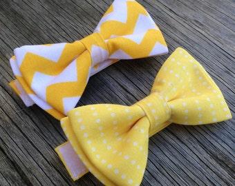 Boy's Yellow Bow Tie - Yellow Groomsmen Ties -- Yellow Wedding - Golden Yellow Ties - Yellow Polka dot Ties - Ringbearer Tie - Easter Bowtie