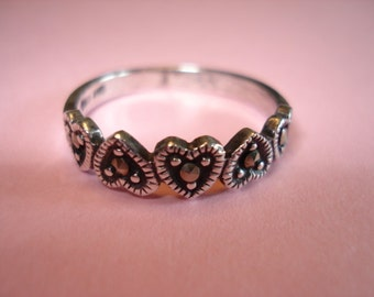 Vintage Sterling Silver Marcasite Heart Band Ring Size 7.75, Valentine's Day SALE ITEM
