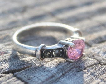 Vintage Silver Pink Topaz Marcasite Ring
