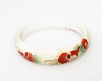 Vintage White Porcelain Hand Painted Cherry Bangle