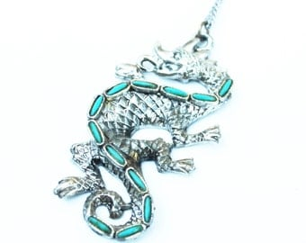 Large Vintage Silver Dragon Pendent with Turquoise Stones