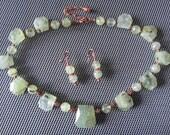 Prehnite and Copper Necklace & Earring Set Natural Stone Jewelry Semiprecious Stones Copper