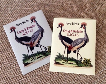 Seed packet wedding favors - 100 Vintage Bird themed  seed packet favors, personalized with your choice of packet color
