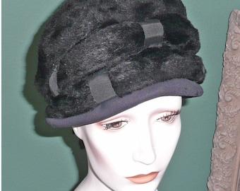 Vintage Coralie Hat Felt Black Martelle Germany Fuzzy Feel Ribbon Cloche
