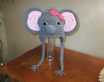 Crochet Baby Elephant Hat - With or Without Bow - Jungle Animals - Photo Prop - 0 to 24 Month Size - Any Color Combination
