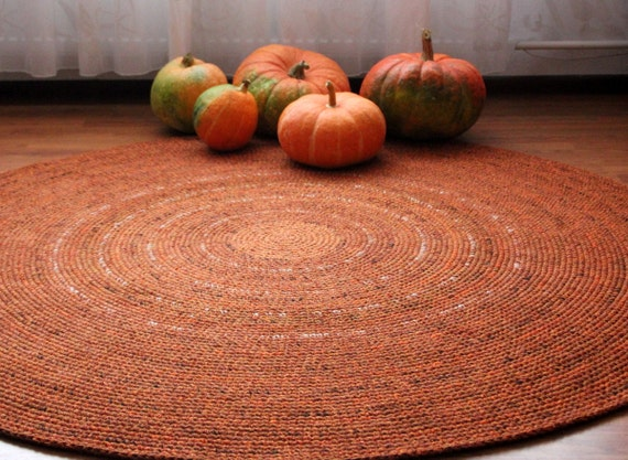 MADE TO ORDER, Large crochet round rug, beautiful orange shades