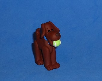 Polymer Clay Dog with Tennis Ball