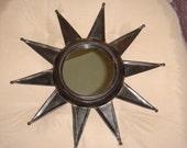 Vintage Mid Century Modern Black Metal Sun Starburst Mirror