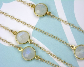 Moonstones-Long Necklace-14K Gold Filled