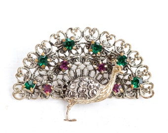 Who is the Peacock - Vintage Art Deco Brooch - Filigree and Rhinestones